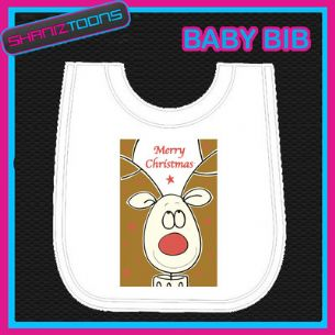 MERRY CHRISTMAS WHITE BABY BIB PRINTED DESIGN